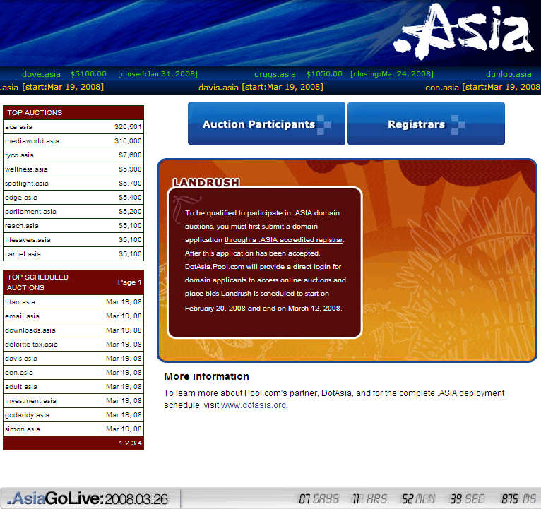 DotAsia.Pool.com screen shot on March 19th