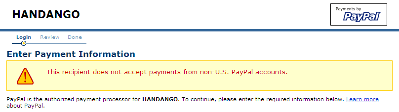 This recipient does not accept payments from non-U.S. PayPal accounts